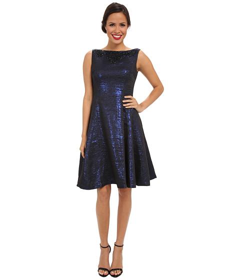 Maggy London - Sleeveless Beaded Yoke Metallic Brocade Fit Flare Dress (Blue/Black) Women's Dress
