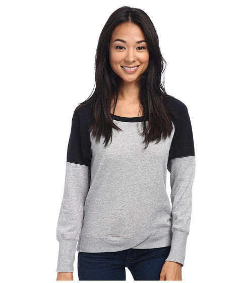 Alternative - French Terry Raglan Crew Neck (Heather Grey) Women's Long Sleeve Pullover