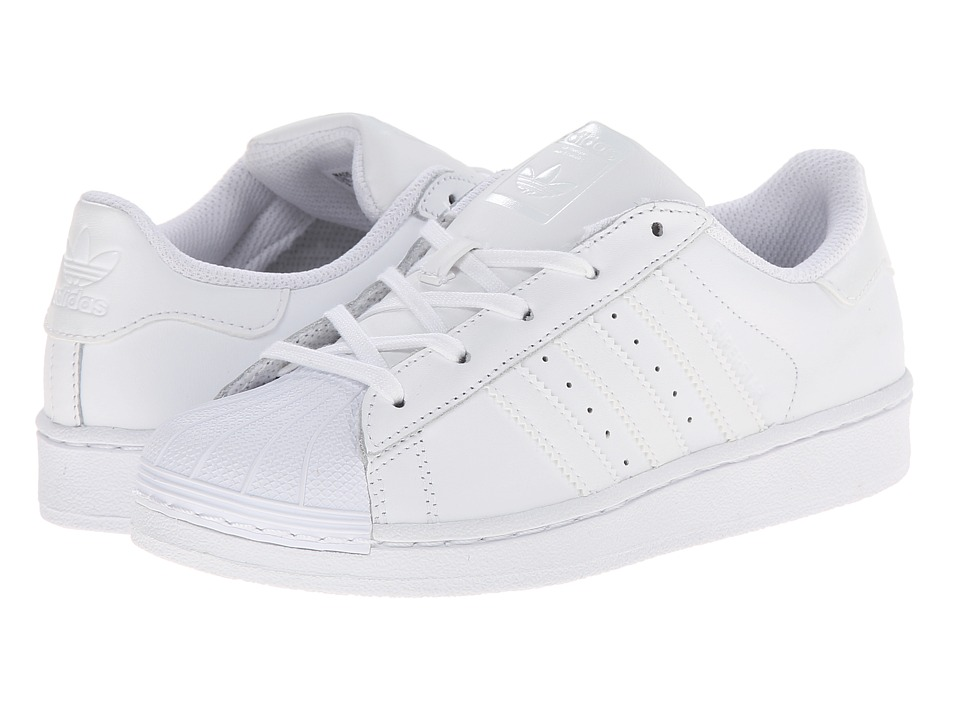 adidas Originals Kids - Superstar Foundation (Little Kid) (White/White/White) Kids Shoes