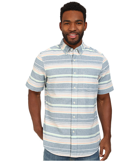Woolrich - Seaport Oxford Yarn-Dye S/S Shirt (Cadet Blue Stripe) Men's Short Sleeve Button Up
