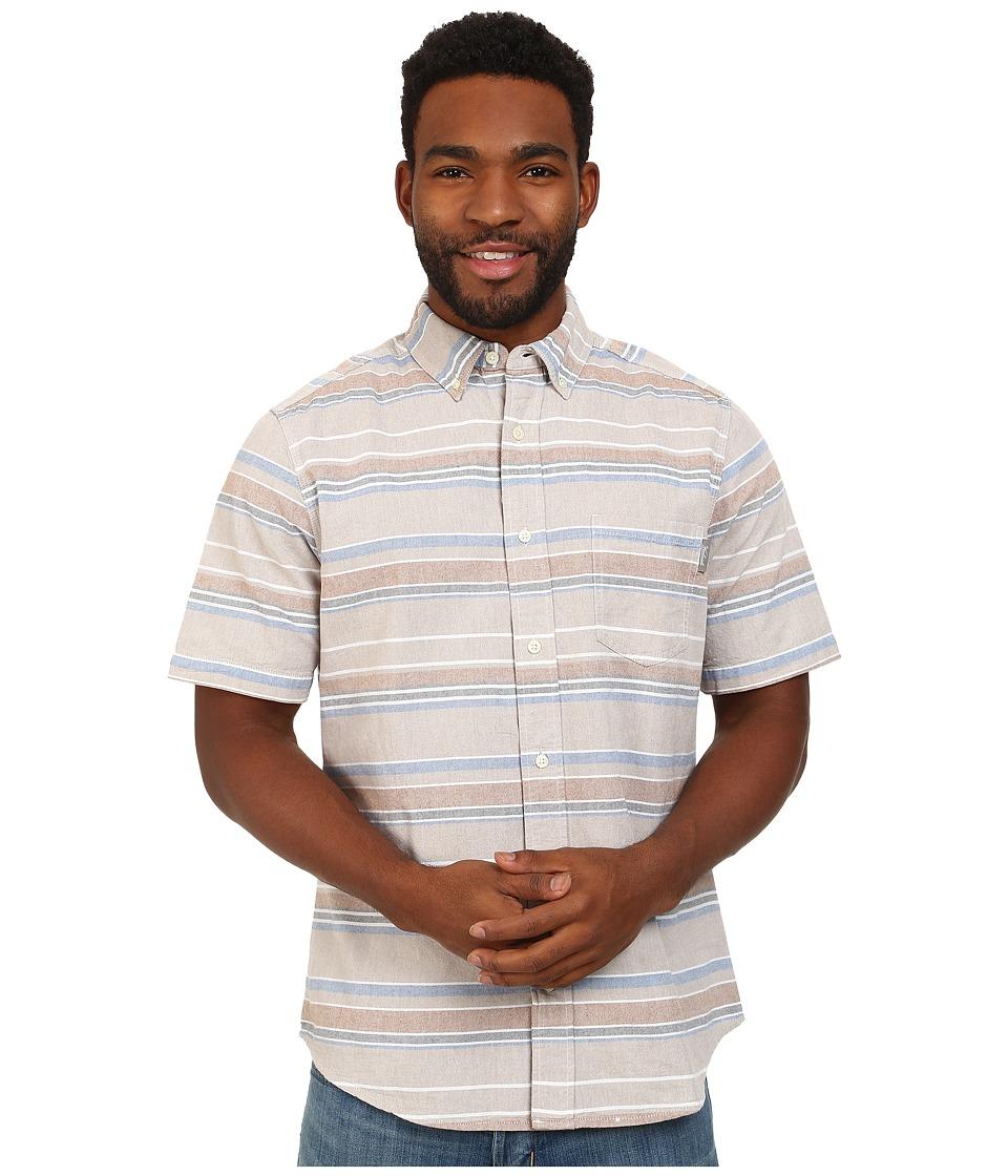 Woolrich - Seaport Oxford Yarn-Dye S/S Shirt (Khaki Stripe) Men's Short Sleeve Button Up