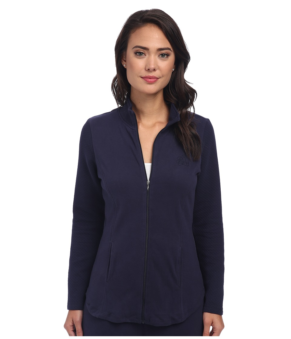 LAUREN Ralph Lauren - Lounge Jacket with Quilted Sleeves (Windsor Navy) Women's Coat