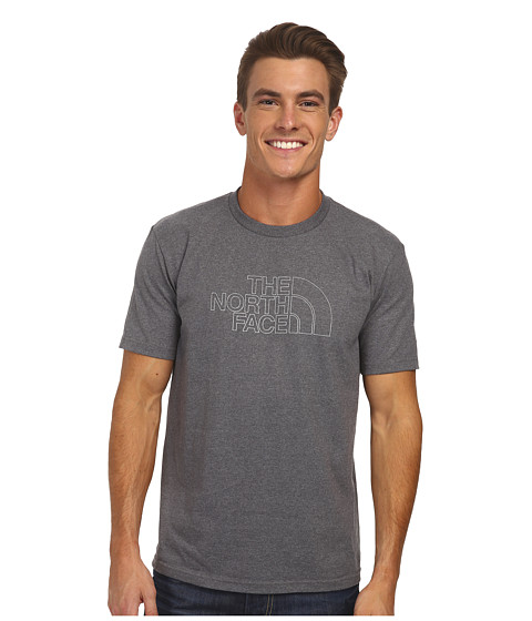 The North Face - S/S Outline Logo Tee (Charcoal Grey Heather) Men