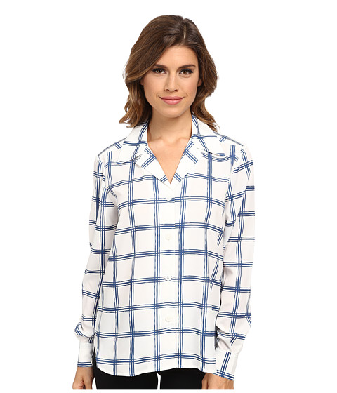 Pendleton - L/S Print Blouse (Ivory/Blue Tattersal) Women's Long Sleeve Button Up