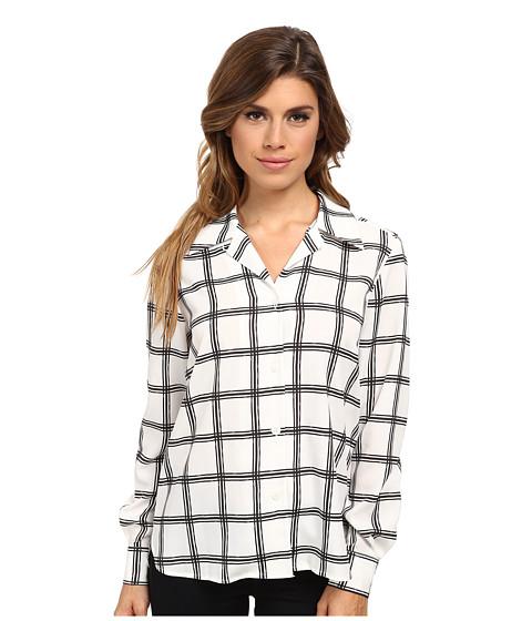 Pendleton - L/S Print Blouse (Ivory/Black Tattersal) Women's Long Sleeve Button Up