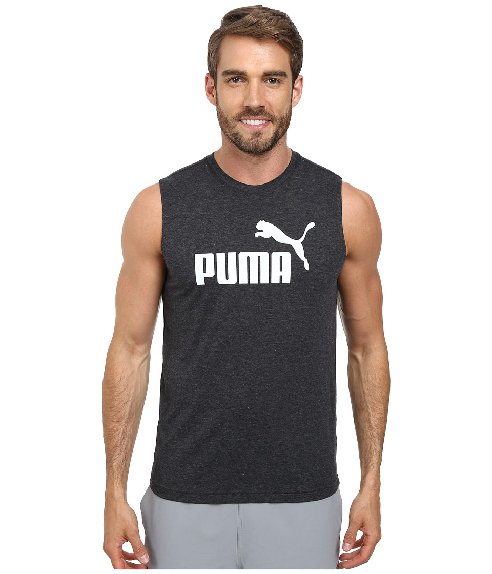 PUMA - Essential No. 1 Logo Sleeveless Tee (Dark Gray Heather/White) Men's Sleeveless