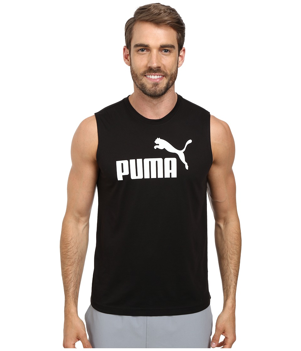 PUMA - Essential No. 1 Logo Sleeveless Tee (Black/White) Men's Sleeveless