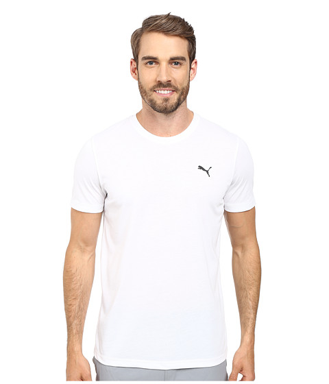 PUMA - Essential Short Sleeve Crew (White/Black) Men's Short Sleeve Pullover