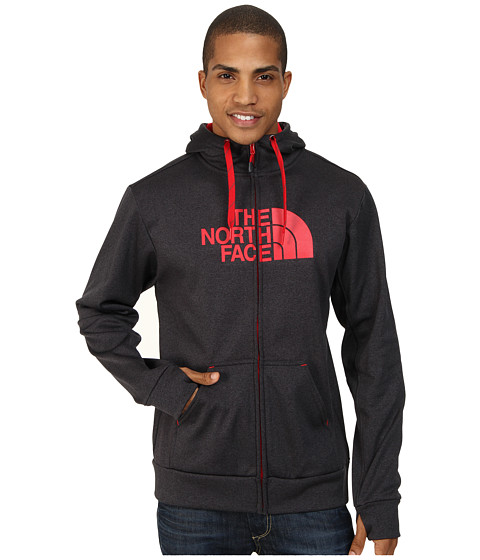The North Face - Surgent Half Dome Full Zip Hoodie (Asphalt Grey Heather/TNF Red) Men