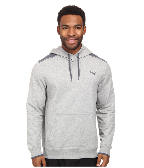 PUMA - Lightweight Hooded Henley (Athletic Gray Heather) Men