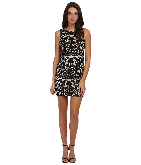 Vince Camuto - Sleeveless Sheath Dress with Satin Panels On Side (Black/Ivory) Women