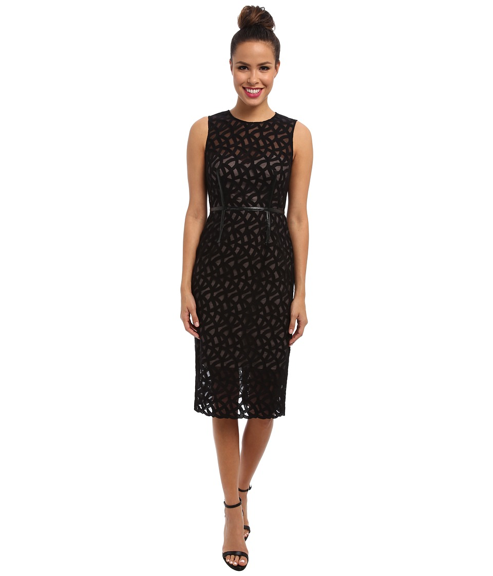 Vince Camuto - Embroidered Lace Dress w/ Illusion Top Hem (Black) Women's Dress