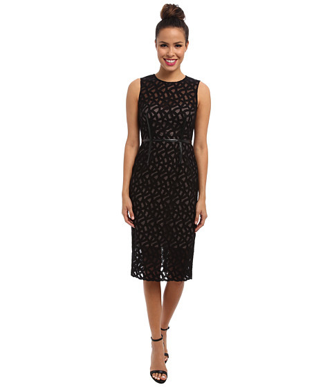 Vince Camuto - Embroidered Lace Dress w/ Illusion Top Hem (Black) Women