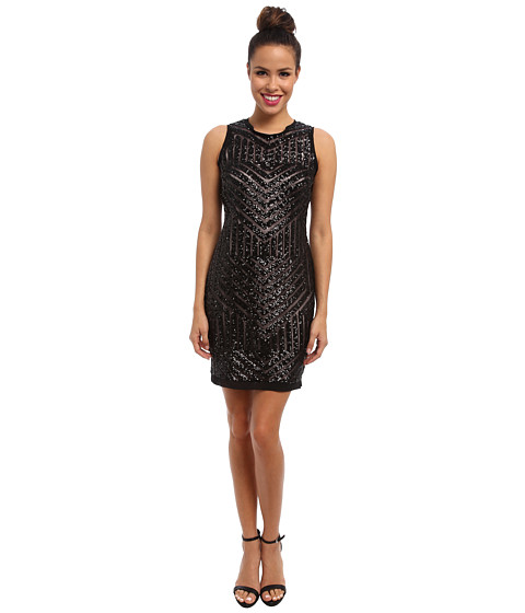 Vince Camuto - Sleeveless Mesh Shift Dress w/ Geometric Sequins-Pending (Black) Women's Dress