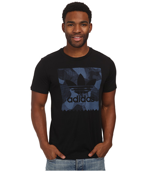adidas Skateboarding - Smoked Aqua Stamp Tee (Black/Ash Blue) Men's Short Sleeve Pullover