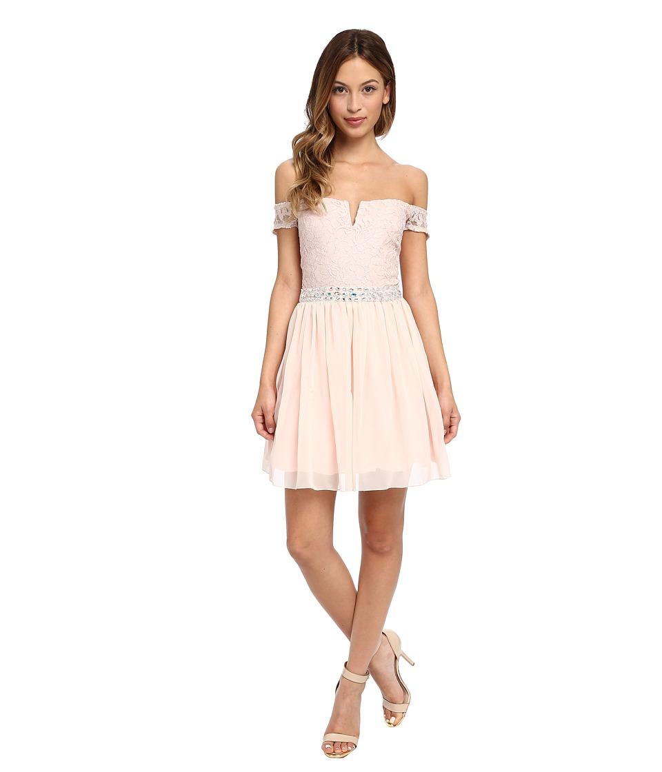 Gabriella Rocha - Lace Chiffon Jeweled Dress (Peach) Women's Dress