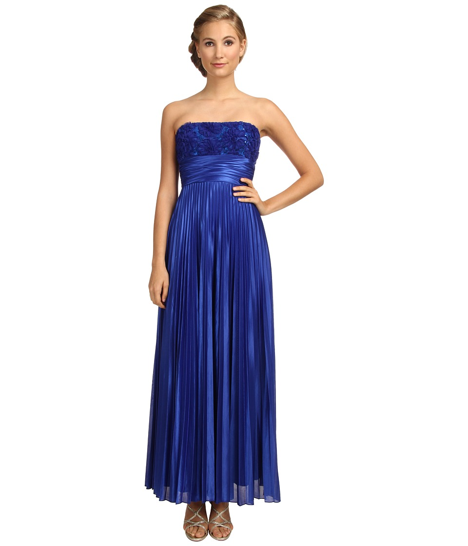 Alejandra Sky - Pleated Strapless Gown (Royal Blue) Women's Dress