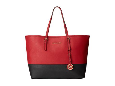 MICHAEL Michael Kors Jet Set Travel Medium Travel Tote (Dark Red/Black) Tote Handbags