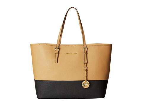 MICHAEL Michael Kors Jet Set Travel Medium Travel Tote (Suntan/Black) Tote Handbags
