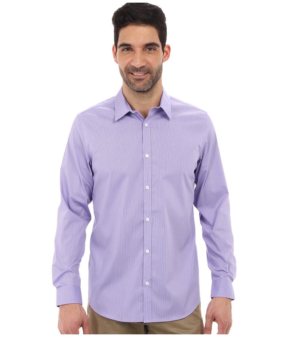 Calvin Klein - Long Sleeve Infinite Cool Button Down Stripe Shirt (Madras Purple) Men's Long Sleeve Button Up