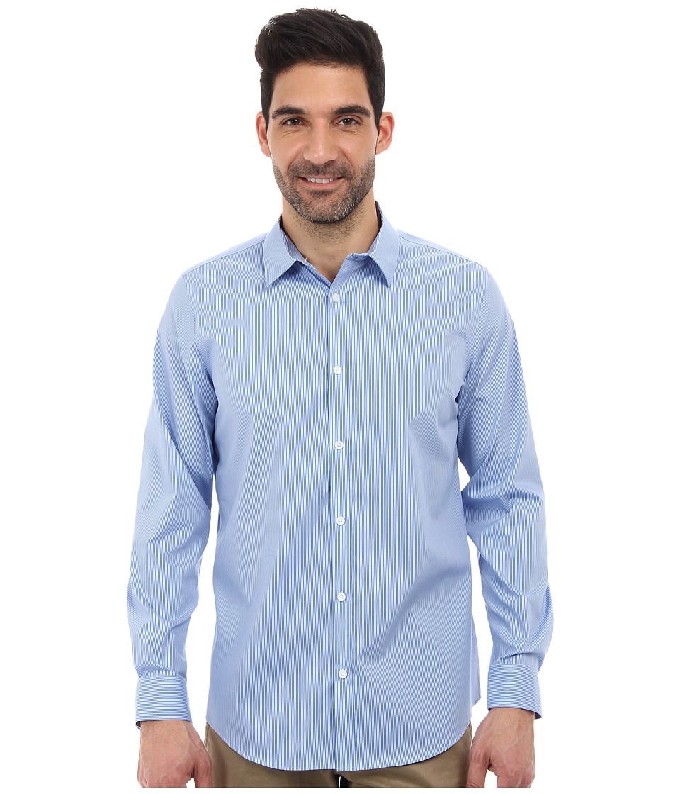 Calvin Klein - Long Sleeve Infinite Cool Button Down Stripe Shirt (Monaco Blue) Men's Long Sleeve Button Up
