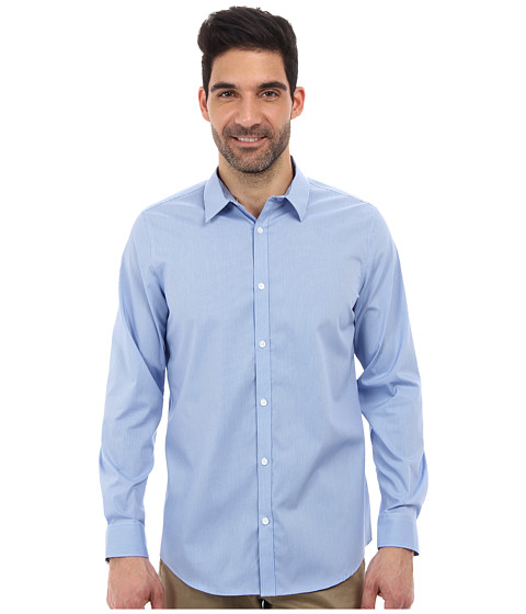 Calvin Klein - L/S Non-Iron Yarn Dyed Stripe Poplin Woven Shirt (Monaco Blue) Men's Long Sleeve Button Up