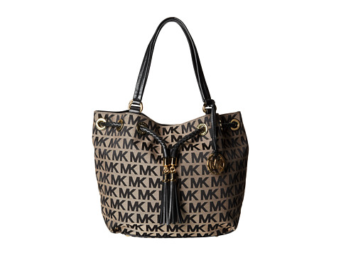 MICHAEL Michael Kors Jet Set Item Large Gathered Tote (Beige/Black/Black) Tote Handbags