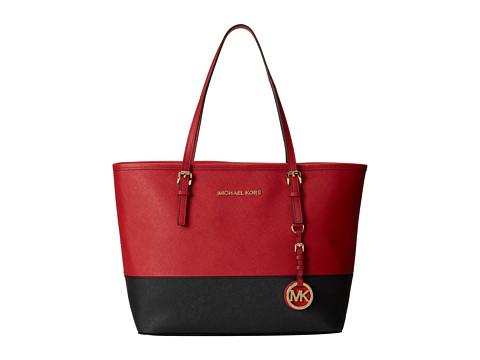 MICHAEL Michael Kors - Jet Set Travel Small Travel Tote (Dark Red/Black) Tote Handbags