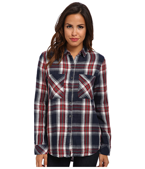 Seven7 Jeans - Two-Pocket Shirt (League Navy Plaid) Women