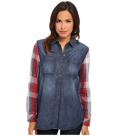Seven7 Jeans - Plaid/Denim Mixed Shirt (Blue Note) Women