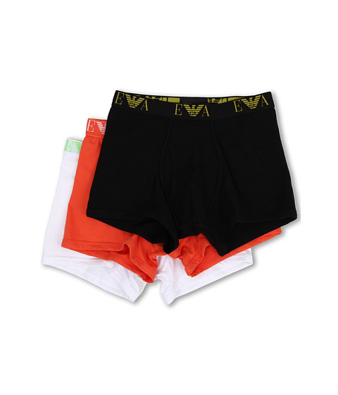 Emporio Armani - 3-Pack Jersey Cotton Trunk (Black/Lobster/White) Men