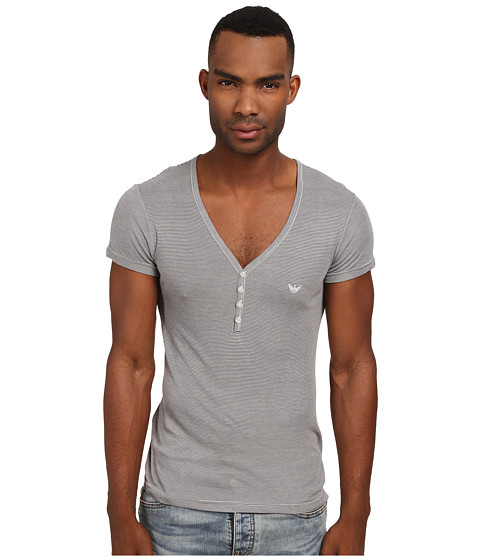 Emporio Armani - Short Sleeve Henley (Striped Pearl Grey) Men