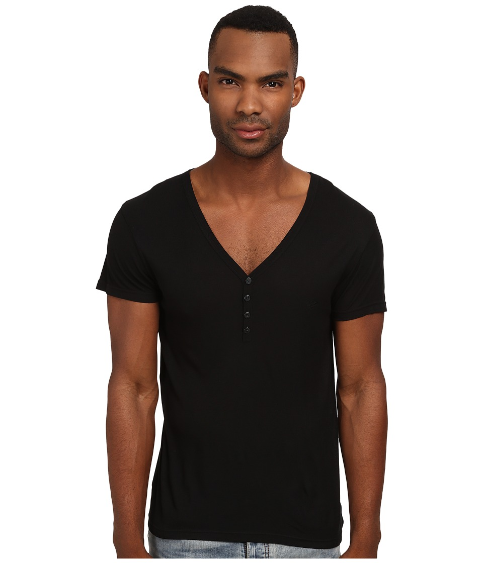 Emporio Armani - Short Sleeve Henley (Black) Men's Underwear