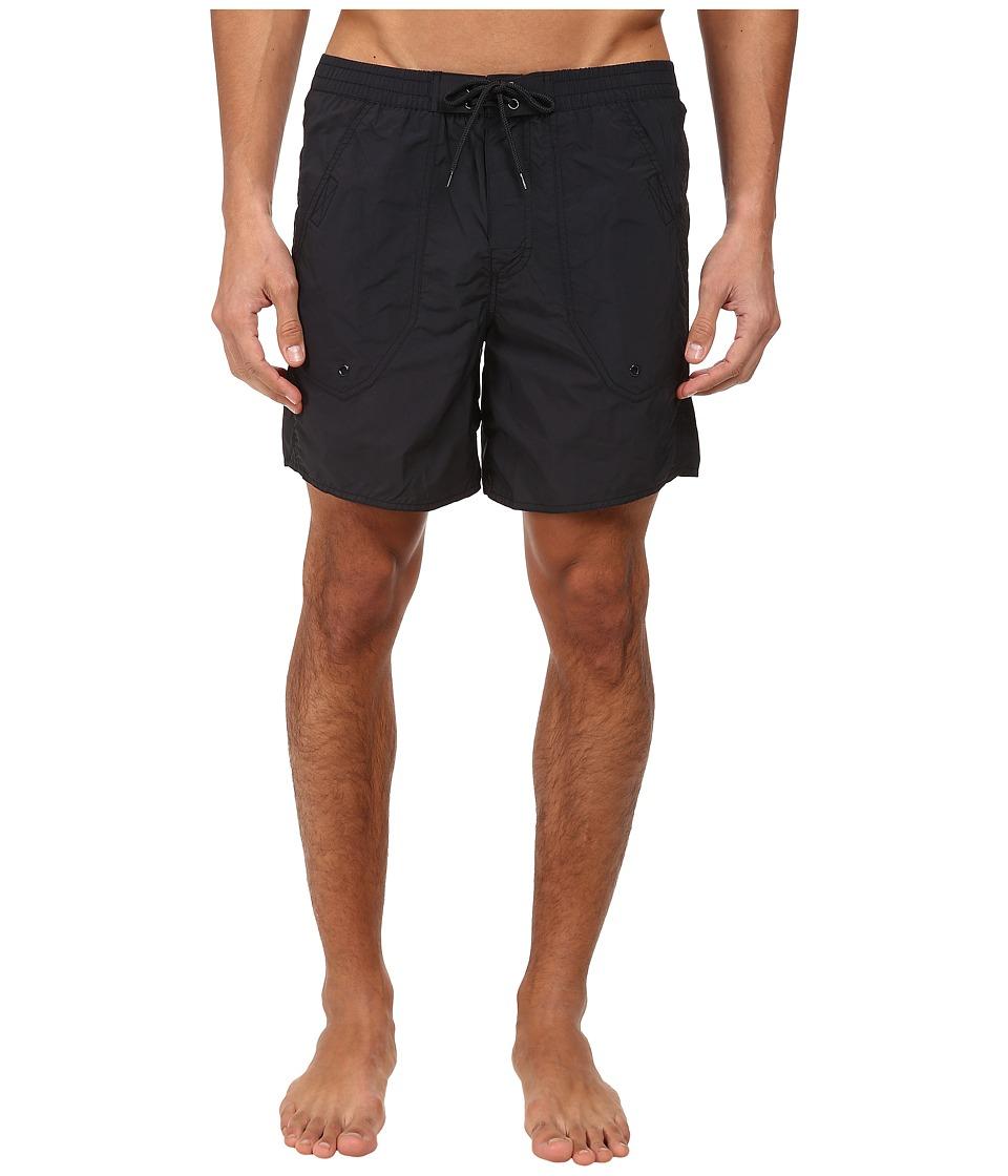 Emporio Armani - Eagle Embroidery Mid-Length Swim Bottoms (Black) Men