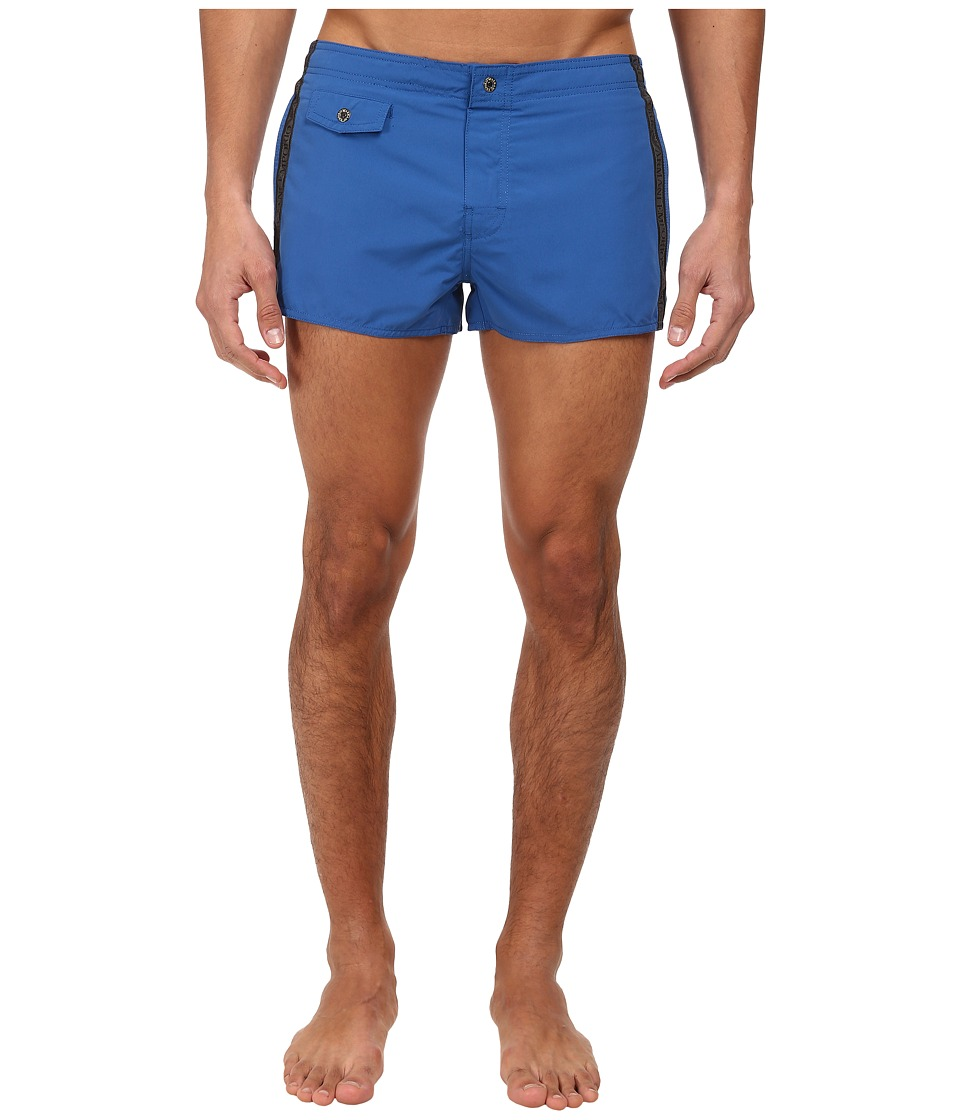 Emporio Armani - Tape Logo Short Swim Bottoms (Blue/Silver) Men