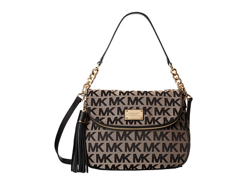 MICHAEL Michael Kors - Jet Set Item Medium Tassel Convertible Shoulder (Beige/Black/Black) Shoulder Handbags