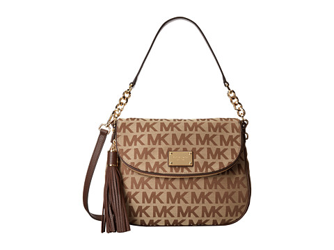 MICHAEL Michael Kors - Jet Set Item Medium Tassel Convertible Shoulder (Beige/Ebony/Mocha) Shoulder Handbags