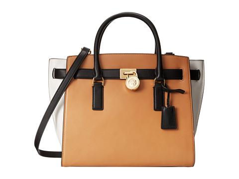 MICHAEL Michael Kors Hamilton Traveler Large Traveler (Suntan/White/Black) Handbags