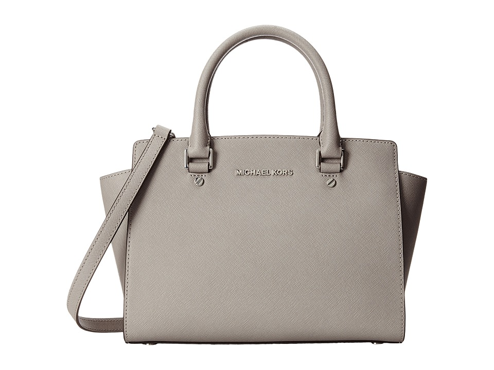 MICHAEL Michael Kors - Selma Medium Top Zip Satchel (Pearl Grey) Satchel Handbags