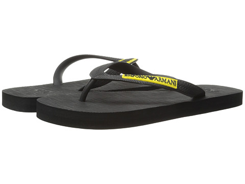 Emporio Armani - Logo Flip Flop (Black) Men's Sandals