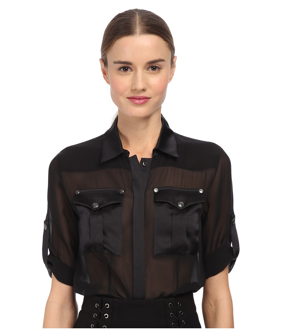 Pierre Balmain - Sheer Button Up Blouse (Black) Women