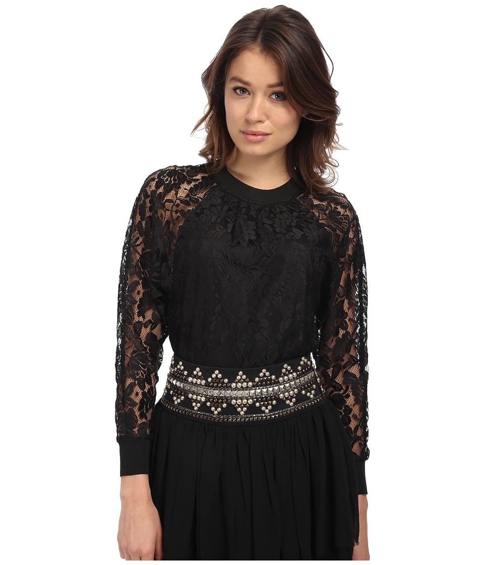 Pierre Balmain - Long Sleeve Lace Blouse (Black) Women's Blouse