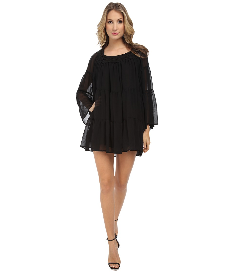 Pierre Balmain - Macrame Neck Wide Sleeve Dress (Black) Women's Dress