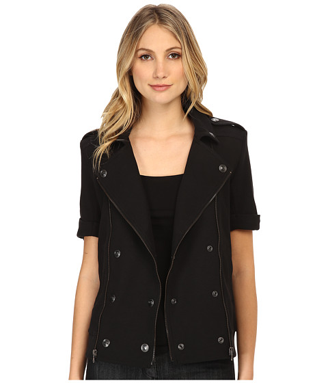 Pierre Balmain - Short Sleeve Moto Jacket (Black) Women's Coat