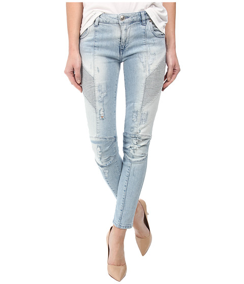 Pierre Balmain - Light Wash Distressed Skinny Jeans in Light Wash (Blue) Women
