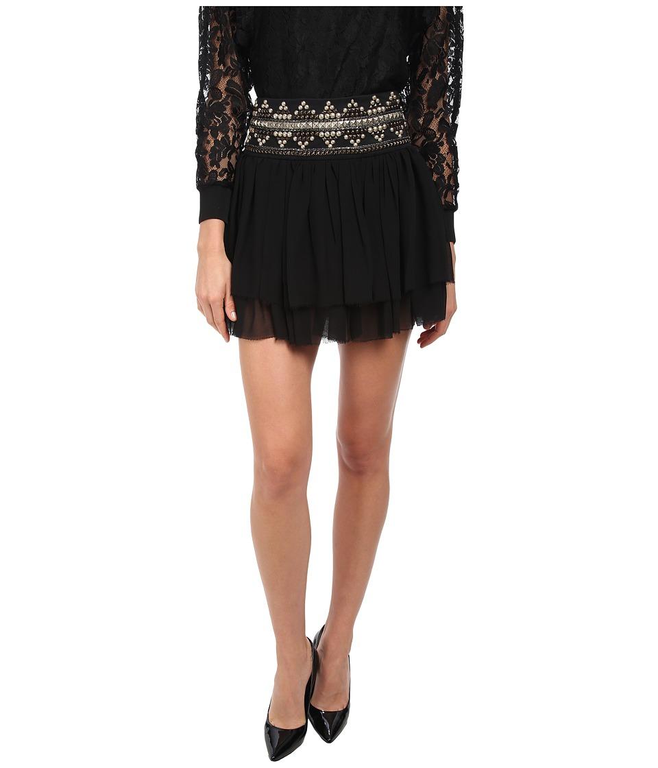 Pierre Balmain - Layered Skirt with Studded Waistband (Black) Women's Skirt