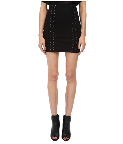 Pierre Balmain - Mini Skirt with Lace-Up Detail (Black) Women's Skirt