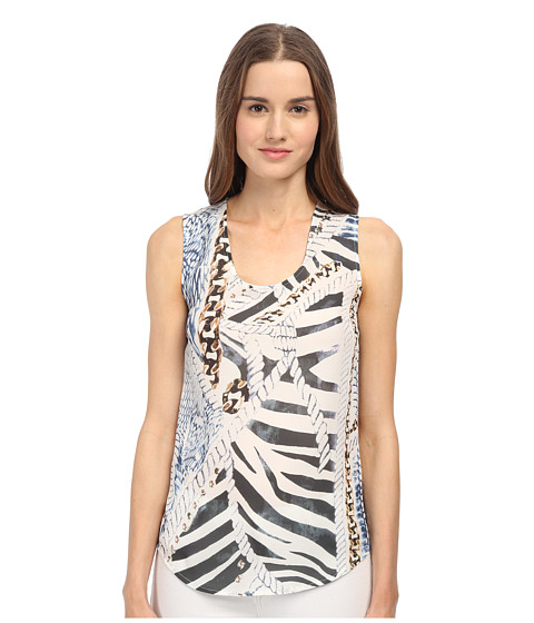 Pierre Balmain - Graphic Print Tank Top (Black/White) Women's Sleeveless