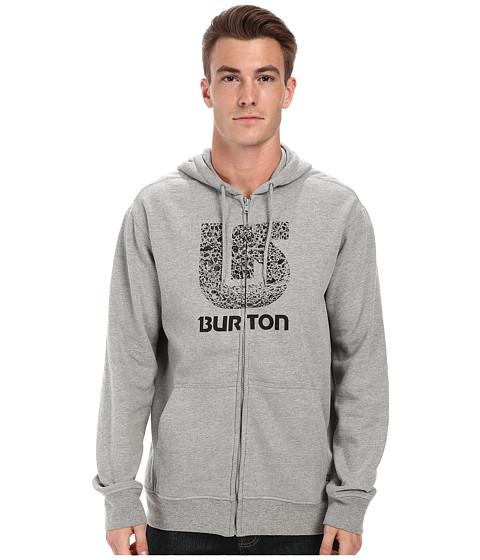 Burton - Logo Vertical Full-Zip Hoodie (Gray Heather) Men's Fleece