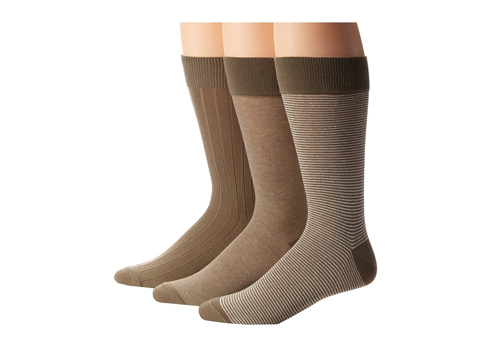 Cole Haan - Even Stripe Crew 3-Pack (Khaki) Men's Crew Cut Socks Shoes